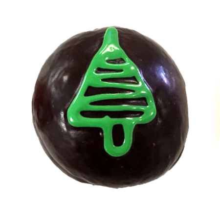 Festive donuts at Wicked Donuts - enjoy a Christmas Tree - Filled with luscious caramel and topped with a rich chocolate ganache